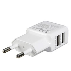 eu plugg dual usb strømadapter vegglader for ipad, iphone& samsung
