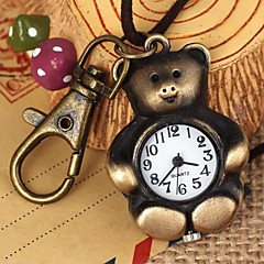 Unisex Lovely Bear-Shaped Round Dial Leather&Alloy Quartz Necklace /Keychain Watch Green Patina (1Pc) Cool Watches Unique Watches