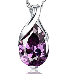 925 Natural Brazil Amethyst Water Drop Tears Of Angel Pendant