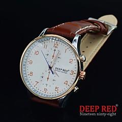 los hombres de cuarzo Miyota lujo de cuero 2035 reloj de nuevo la caja de acero business casual muñeca de moda hueco (color clasificado)
