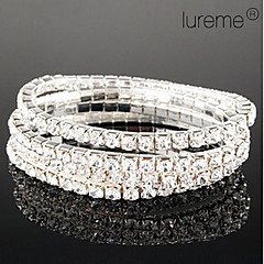 Lureme Simple Row Crystals Elastic Bracelet Jewelry