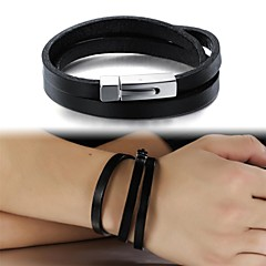 Fashion Simple Leather Multilayer Titanium Steel Buckle Men's Bracelet