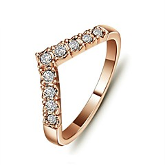 Concise Style 18K Rose/White Gold Plated V Love Rings Anel Joias With Austrian Crystal Stellux Jewelry