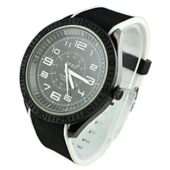 Men's Alloy Dial Double Color Silicone Band Quartz Analog Wrist Watch(Assorted Colors)
