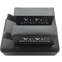 Bluestar ™ 2 x 3.7V 900mAh Li-ion batteri + lader dock + ladekabel for sjcam sj4000 sport kamera