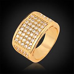 U7® Luxury Shining 18K Chunky Gold Plated  AAA+ CZ Stone Zirconia Band Ring