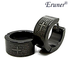 Eruner®Men's Titanium Steel Cross and Scriptures Pattern Earring