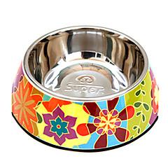 abstrato padrão de flores de aço inoxidável tigela de comida para animais de estimação cães
