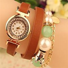 reloj redondo de metal de moda de la cadena gran perla de cuero de cuarzo japonés de la mujer (colores surtidos)