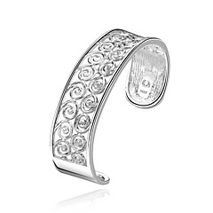 Lureme Sweet Style 925 Sterling Sliver  Hollow Round Cuff Bangle for Women