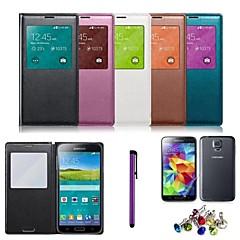 tela de couro pu visível caso chipset auto-sono esperto com estilete e filme para Samsung Galaxy S5