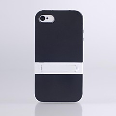 High Quality TPU Rubber Shell Cover Case with Mount Stand Function for iPhone 4/4S (Assorted color)