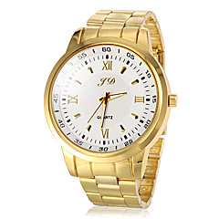 Men's Round Dial Gold Steel Band Quartz Wrist Watch  (Assorted Colors)