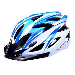 fjqxz 18 ventilatieopeningen eps + pc blauw en wit integraal gevormde fietshelm (56-63cm)