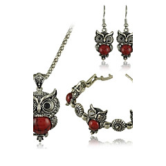 Europe And The United States Are Sleeved Vintage Owl Turquoise Bracelet Earrings Three Piece Suit