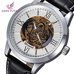 Men's Round Dial Leather Skeleton Mechanical Wristwatch (Assorted Colors)