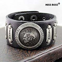 Miss ROSE® Punk 25cm Men's Black Leather With Gold Alloy ID Bracelet(1 Pc)