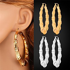 U7®18K Real Gold Platinum Plated Big Bamboo Hoop Earrings for Women