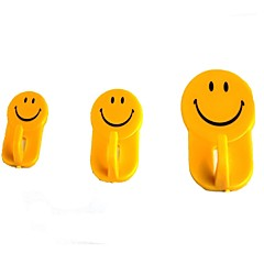 Smiley Face Strong Sticking Hooks - Yellow (3 PCS)