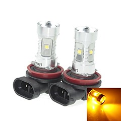 2x H8  PGJ191 30W 6xCREE Yellow 560-590nm 2100LM  for Car Fog Light (AC/DC12V-24)