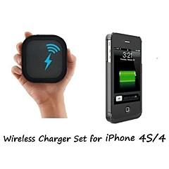 [4 סט מטען אלחוטי לאייפון] צ'י כרית מטען אלחוטי ומקרה מקלט אלחוטי עבור 4 / 4S iPhone