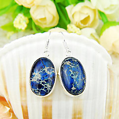 Natural Blue Imperial Jasper Gemstone Daily Drop Silver Classis Earrings 2pair
