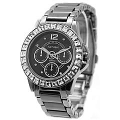 kvinnens damene runde keramisk svart watchband vanntett kvarts watch fw830o
