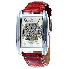 Herren-Hohl-Gravur Rechteck Zifferblatt Lederband automatische mechanische Uhr (sortierten Farben)