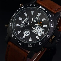Men's Leather Watch Military Dual Times Zones Water Resistant Multi-Function Sport Watches(Assorted Colors)