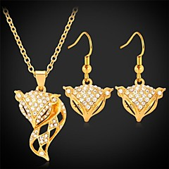 U7®Cute Fox Dangle Earrings Pendant Necklace 18K Real Gold Platinum Plated Rhinestone Fashion Jewelry Set