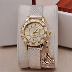 女性用 ファッションウォッチ リストウォッチ ダミー ダイアモンド 腕時計 模造ダイヤモンド クォーツ PU バンド チャーム ブラック 白 ブルー ブラウン ゴールド