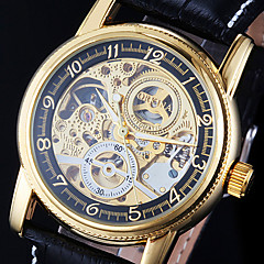 Men's Watch Auto-Mechanical Watch Gold Hollow Engraving Elegant PU Band Wrist Watch Cool Watch Unique Watch