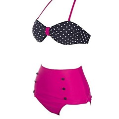 Women's Fashion Sexy Two-tone Dot High waist Bikini Set Swimwear Swimsuit Beachwear