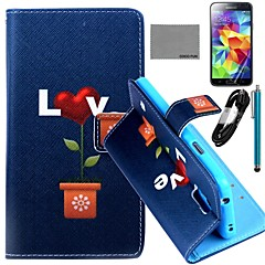 COCO FUN® Love Potted Pattern PU Leather Case with Film and USB Cable and Stylus for Samsung Galaxy S5 I9600