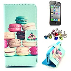 Colorful Cake Pattern PU Leather Case with Screen Protector and Dust Plug for iPhone 4/4S