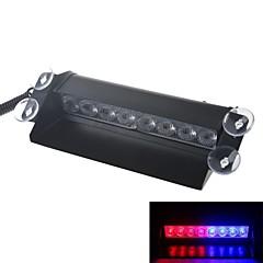 8W lumière bleue et rouge voiture 3 en mode clignotement de la LED DC12V de lumière d'avertissement