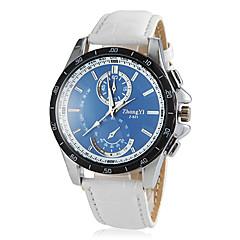 Men's Round Blue Dial PU Leather Band Quartz Wrist Watch