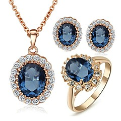 Emerald Elegant 18K Rose Gold Pated Blue Austrian Crystal Pendant Necklace Earrings Ring Jewelry Set