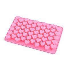 55-slot hjerte formet silikon kake kjeks bakeformen brettet mold bakeware (rosa)