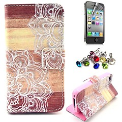 Mandala Flower Wood Pattern PU Leather Case with Screen Protector and Dust Plug for iPhone 4/4S