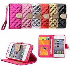 Luxury Grid Pattern PU Leather Full Body Case with Bling Diamond Buckle And Card Slots for iPhone 4/4S (Assorted Colors)