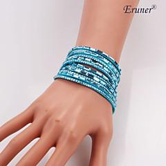Eruner®Hot Sale Wrap Wristband Cuff Punk Rhinestone Multilayer Bracelet Bangle