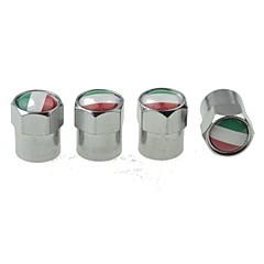 luxusní auto pneumatiky státní vlajka měděné ventily dekorace cap (Itálie 4 ks v balení)