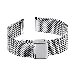 18mm Unisex Thick Mesh Steel Watch Band Strap Bracelet Fold Over Buckle Silver