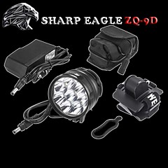 SHARP EAGLE/ZQ-9D 3Mode 9XCREE XM-L T6 LED Hesdlamp(10800LM.4X18650.Black)