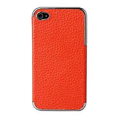 coller un étui rigide métallique en cuir véritable pour iPhone 4 / 4S (de couleurs assorties)