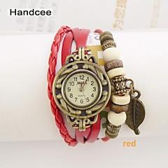 Handcee® Watch Women's PU Quartz Wrist Watch Fashion Watch with Docuration of Leaf