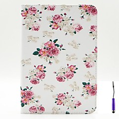 Charming Flowers Pattern PU Leather Case Cover with A Touch Pen ,Stand and Card Holder for iPad mini 1/2/3