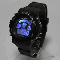 Dziecięce Modny Zegarek na nadgarstek Zegarek cyfrowy Kwarcowy Cyfrowe LED Silikon Pasmo Czarny
