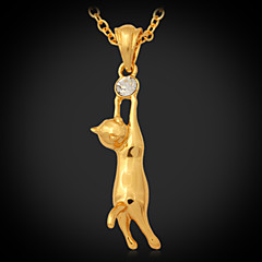 U7® Cute Cat Pendant 18K Real Gold Plated Necklace Austrian Rhinestone Jewellery Jewelry for Women or Men